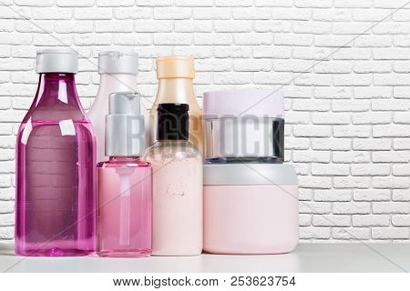 Bottle Bath Shampoo Soap Spa Toiletry on the table poster