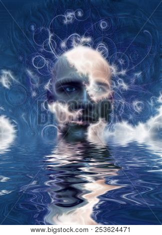 Surreal digital art. Man's head above water. Abstract background. 3D rendering