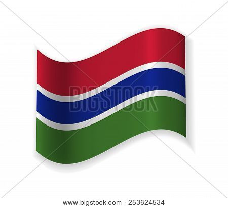 Flag Of The Gambia. A Country In West Africa. Vector Illustration. The Capital Banjul.
