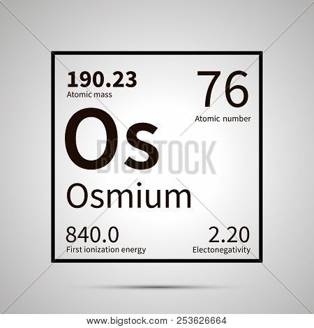 Osmium chemical element with first ionization energy, atomic mass and electronegativity values , simple black icon with shadow poster