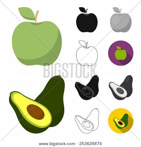 Different Fruits Cartoon, Black, Flat, Monochrome, Outline Icons In Set Collection For Design. Fruit