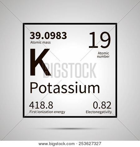 Potassium chemical element with first ionization energy, atomic mass and electronegativity values , simple black icon with shadow poster