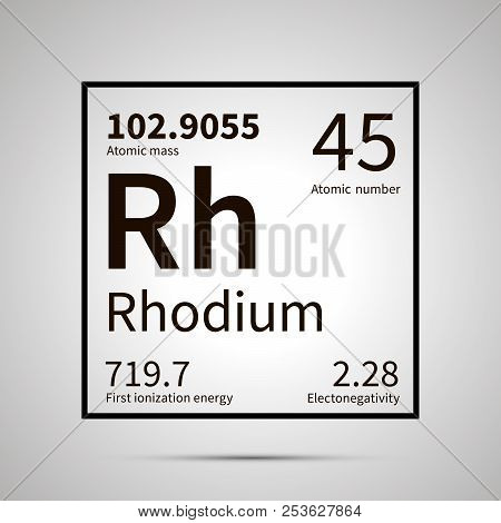 Rhodium Chemical Element With First Ionization Energy, Atomic Mass And Electronegativity Values , Si