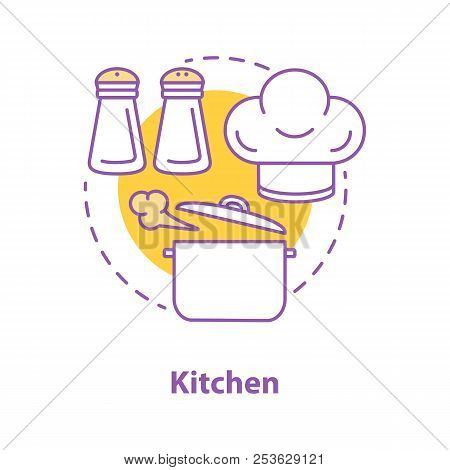 Cooking Concept Icon. Food Preparation Idea Thin Line Illustration. Boiling Stewpan, Chef Hat, Salt