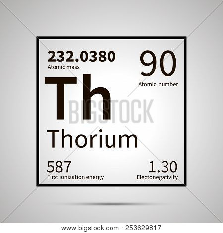 Thorium chemical element with first ionization energy, atomic mass and electronegativity values , simple black icon with shadow poster