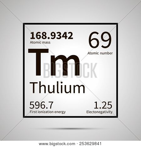 Thulium chemical element with first ionization energy, atomic mass and electronegativity values , simple black icon with shadow poster
