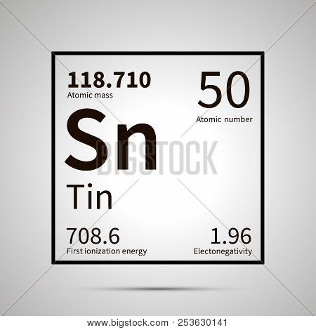 Tin chemical element with first ionization energy, atomic mass and electronegativity values , simple black icon with shadow poster
