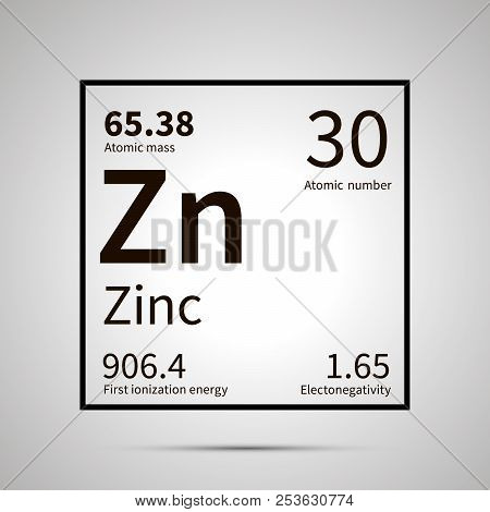Zinc chemical element with first ionization energy, atomic mass and electronegativity values , simple black icon with shadow poster