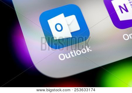 Sankt-petersburg, Russia, August 10 2018: Microsoft Outlook Office Application Icon On Apple Iphone