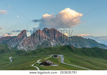 Cloud Over The Italian Dolomites Casting The Last Rays Of Sunlight Across The Itialian Dolomites. Im