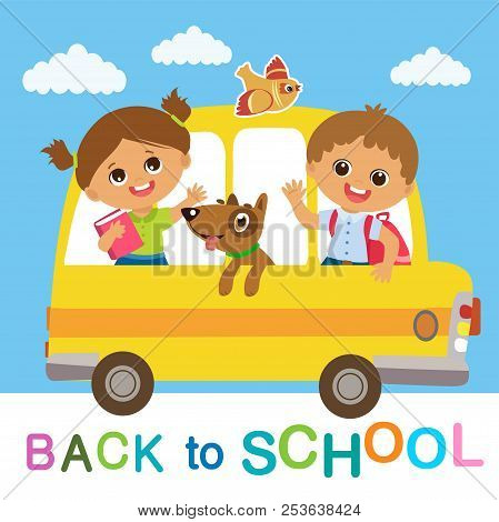 Vector Illustration Of Happy School Kids Go To School. Welcome Back To School. Cute School Boy And G