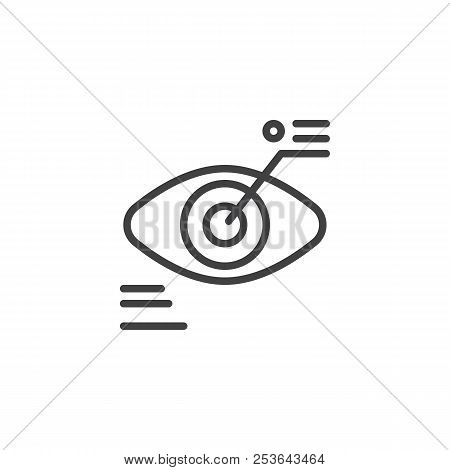 Biometric Identification Outline Icon. Linear Style Sign For Mobile Concept And Web Design. Eye Scan