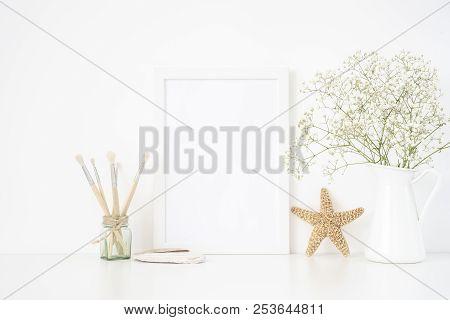 White Frame Mockup A4 In Interior. Frame Mock Up Background For Poster Or Photo Frame For Bloggers,