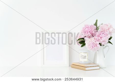 Stylish White A5 Blank Frame Mockup. Still Life Composition, Floral Bouquet Of Pink Peonies In Jug.
