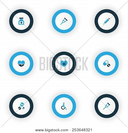 Drug Icons Colored Set With Pellets, Heartbeat, Drug And Other Disabled Elements. Isolated Vector Il