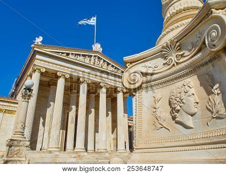 Athens, Greece - June 30, 2018. The Academy Of Athens, Greece National Academy, With A Lamp-post Bas