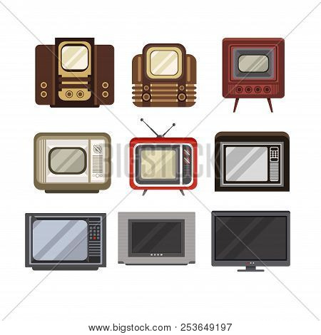 Television Receivers Set, Tv Evolution From Obsolete To Modern Vector Illustrations On A White Backg