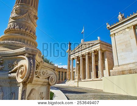 Athens, Greece - June 30, 2018. Principal Facade Of The Academy Of Athens, Greece National Academy,