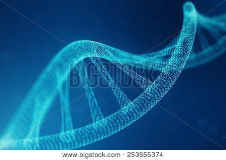 Artifical Intelegence Dna Molecule. Dna Is Converted Into A Binary Code. Concept Binary Code Genome.