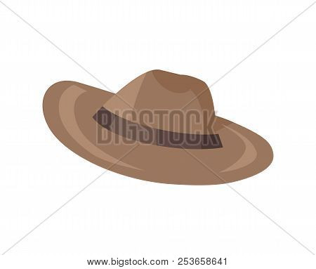 Brown Classical Hat With Brim Vector Illustration Icon Isolated On White Background, Headdress Cap I