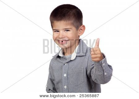 Funny baby saying Ok isolated on a over white background