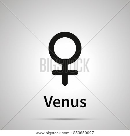 Venus Astronomical Sign, Simple Black Icon With Shadow On Gray