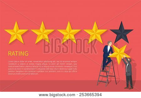 Rating Poster With Two Man On Ladder Hanging Fifth Star, Appreciation Of High Level Grade, Evaluatio