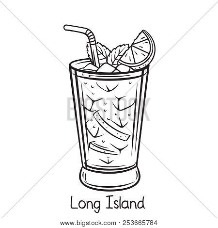 Vector Glass Of Long Island Cocktail With Lime Slice In Retro Hand Drawn Style. Retro Illustration S