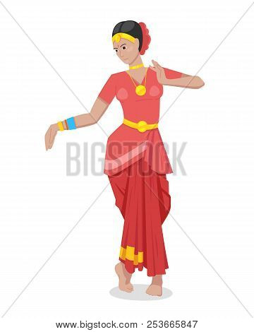 Indian girl dancer, in colorful red classic traditional attire. poster