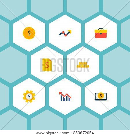 Set Of Economy Icons Flat Style Symbols With Laptop Money, Currency, Cash And Other Icons For Your W