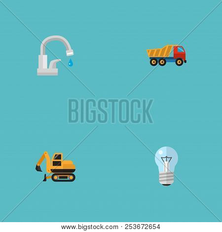 Set of construction icons flat style symbols with dumper truck, crawler excavator, light and other icons for your web mobile app logo design. poster