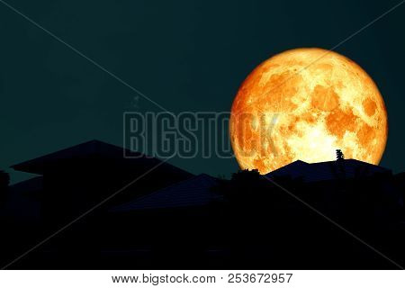 Full Blood Moon Back Over Silhouette Roof