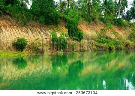 Green Blue Water Was Born By Cabonate In Sandstone And Sunlight Reflection