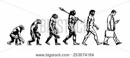 Theory Of Evolution Of Man. Human Development. Vector