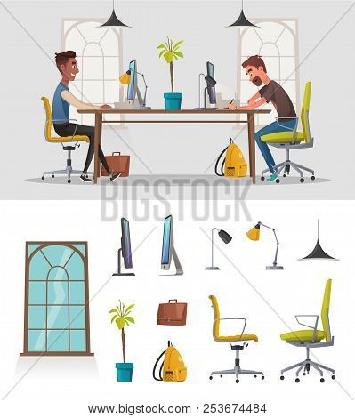 Funny Business Characters In The Working Environment. Cartoon Vector Illustration. Comfortable Workp