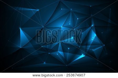 Vector 3d Illustration Geometric, Polygon, Line,triangle Pattern Shape With Molecule Structure. Poly