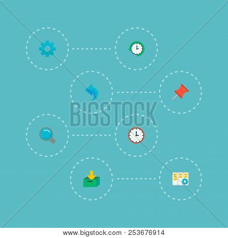 Set of task manager icons flat style symbols with time, undo, task manager and other icons for your web mobile app logo design. poster