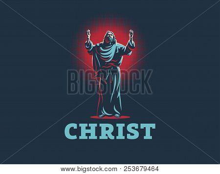 Jesus Raised His Hands In Prayer. Vector Illustration.