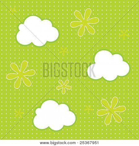 baby wallpaper- seamless pattern of clouds and flowers vector background