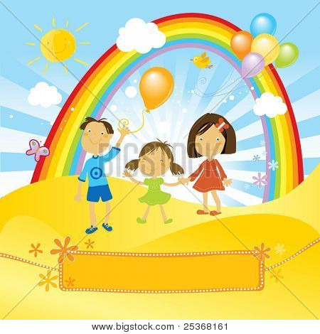 kids having a fun party with balloons in a sunny day. And a nice banner for your text.