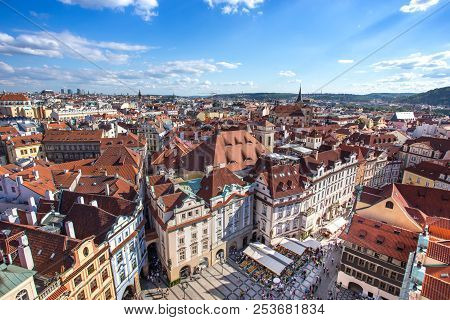 Prague Old Town Square With Old Church And Castle In Shopping Street Where Is The Famous Landmark Fo