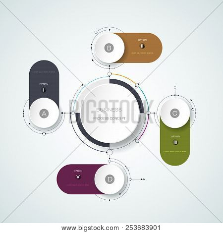 Vector Abstract Molecules With 3d Paper Label, Integrated Circles. Blank Space For Content, Business