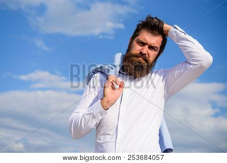 Man Bearded Hipster White Formal Clothes Looks Sharp Sky Background. Fancy Groom. Hipster With Beard