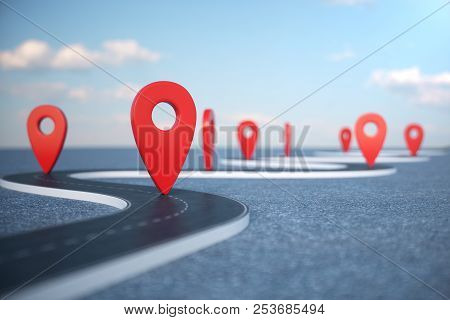 Road Way Location Infographic With Pin Pointers. Road Way With Red Pointers. Road Way On Cloudy Blue