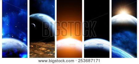 Set of vertical space banners with planets, nebula and stars. Elements of this images furnished by NASA. 3d render