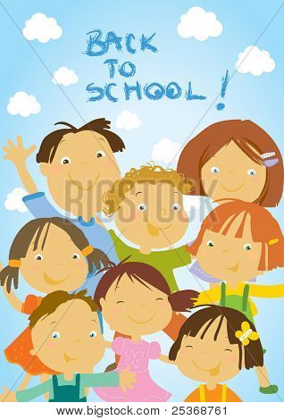 group of happy kids ready for school- vector illustration.