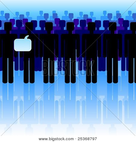people standing in line, vector illustration. Communication concept
