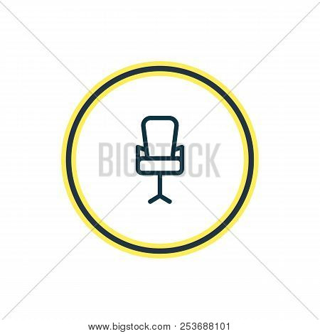 Vector Illustration Of Office Chair Icon Line. Beautiful Workplace Element Also Can Be Used As Workp