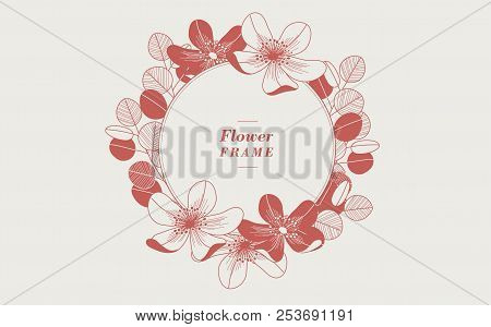 Round Floral Frame With A Flat Design. Vector Illustration.