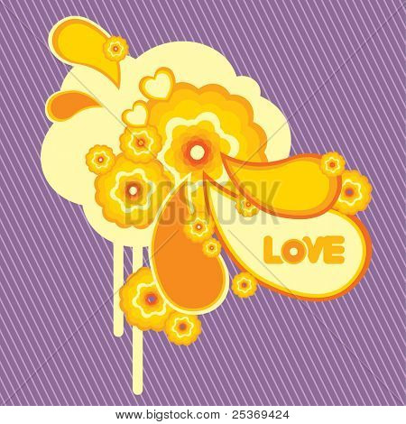 vector retro flower design with love word, isolated on striped background